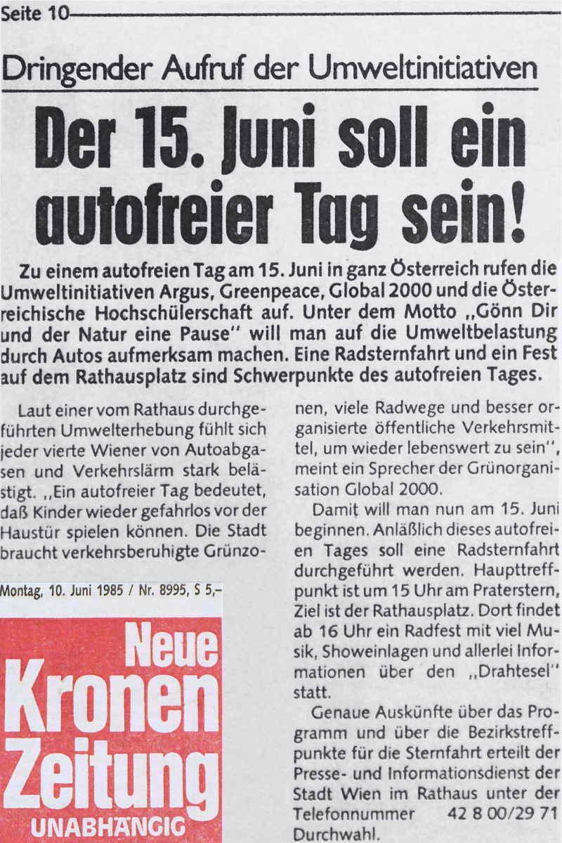 Autofreier Tag erster 1985 Krone Vorbericht