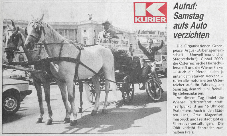 Autofreier Tag erster 1985 Kurier Fiaker