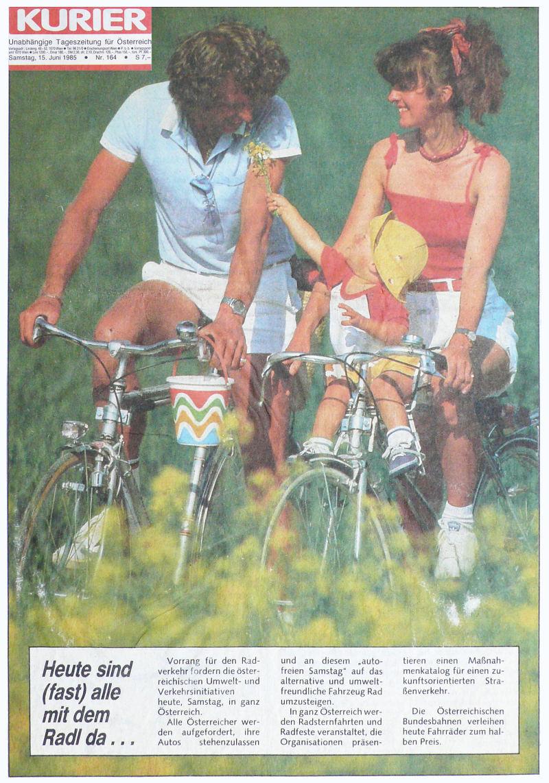 Autofreier Tag erster 1985 Titelseite Kurier