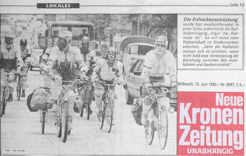Autofreier Tag erster Radmode 1986 Partnerschaft Krone